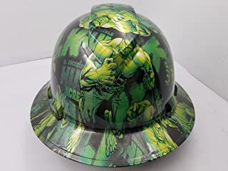 Wet Works Imaging Customized Pyramex Full Brim GREEN HULK INCREDIBLE HARD HAT With Ratcheting Suspension CUSTOM LIDS CRAZY SICK CONSTRUCTION PPE