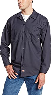 LL535CH Polyester/Cotton Men's Long Sleeve Industrial Work Shirt, Dark Charcoal