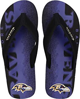 98d7176db NFL Football Mens Team Contour Fade Wordmark Flip Flop Sandals