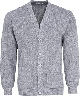 Miss Trendy Mens Classic Buttons Vintage Plain Knitted Grandad Cardigan Jumper UK S- 3XL