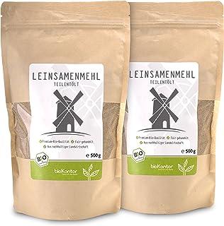 bioKontor // Leinsamenmehl, Leinmehl - teilentölt, low carb, Omega-3-Fettsäuren - 2x500 g - BIO 1000g