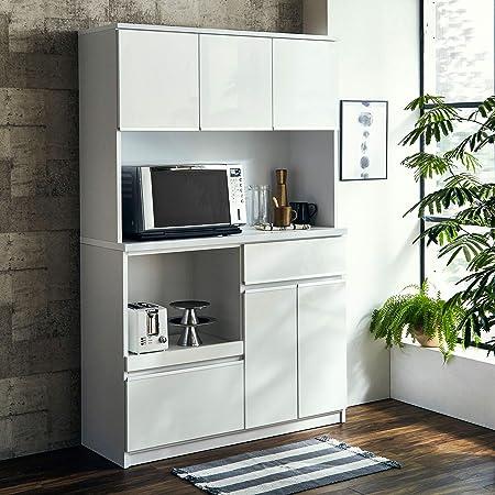 食器棚 レンジ台 コンセント付 キッチンボード ナポリ 幅120(116.3) 完成品 カラー5色(鏡面ホワイト) おしゃれ