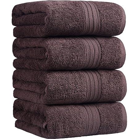 100% 綿 4枚 ホテルスタイル バスタオル 大判 セット タオル コットン 人気 安い ふわふわ 抜群の肌触り 吸水抜群 (灰色, バスタオル 大判)