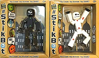 Stikbot Black and White Action Figures with Black Suction Cups (Black & White Duo)