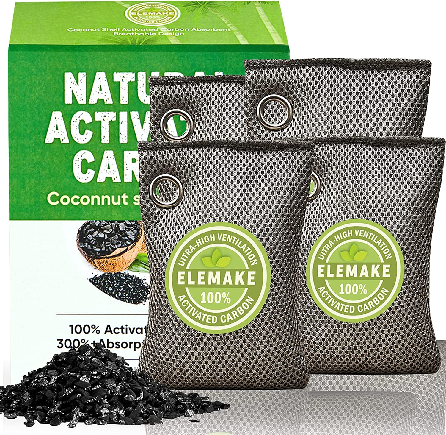 Upgraded Coconut half Charcoal Max 41% OFF Elemake Bags Odor Absorber