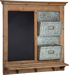 Kate and Laurel Idamae Wood Framed Chalkboard Wall Organizer with Mail Holders and Key Hooks, 28