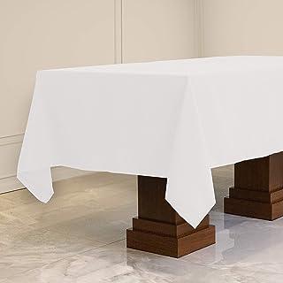مفرش مائدة مستطيل الشكل من Kadut (152.4 سم × 259.04 سم) مفرش طاولة مستطيل أبيض لطاولة 6 أقدام | نسيج شديد التحمل | مقاوم ل...