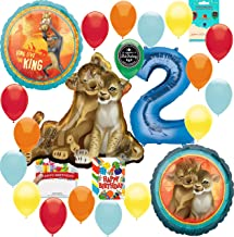 Lion King Party Supplies 2nd Birthday Balloon Decoration Supply Bundle with Happy Birthday Card and 8 Treat Bags