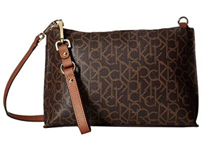 Calvin Klein Sonoma Monogram Crossbody (Brown/Khaki/Luggage Saffiano) Handbags