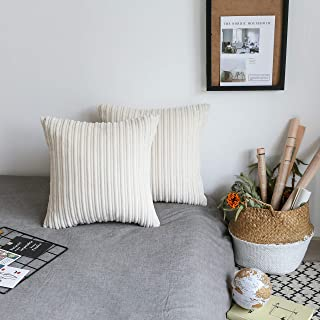 UGASA Set of 2, Velvet Soft Soild Decorative Square Throw Pillow Covers Cushion Case for Sofa Bedroom, 18x18Inch (45x45cm), Cream