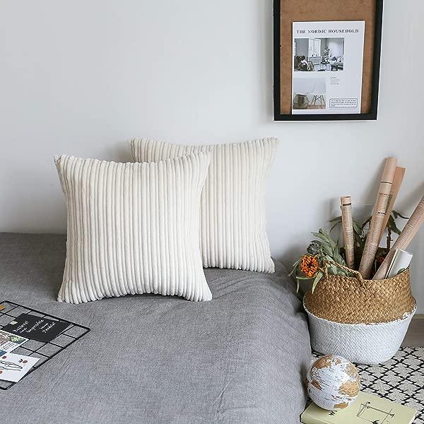 UGASA Set Of 2 Velvet Soft Soild Decorative Square Throw Pillow Covers Cushion Case For Sofa Bedroom 18x18Inch 45x45cm Cream