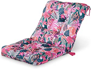 Vera Bradley by Classic Accessories Water-Resistant Patio Chair Cushion, 21 x 19 x 22.5 x 5 Inch, Rain Forest Canopy Coral