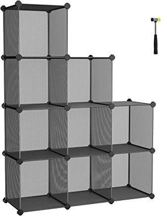 SONGMICS 組立式メタルラック オープンシェルフ 30×30×30cm 9box 本棚 整理棚 自由にDIY 頑丈 NLPL115H