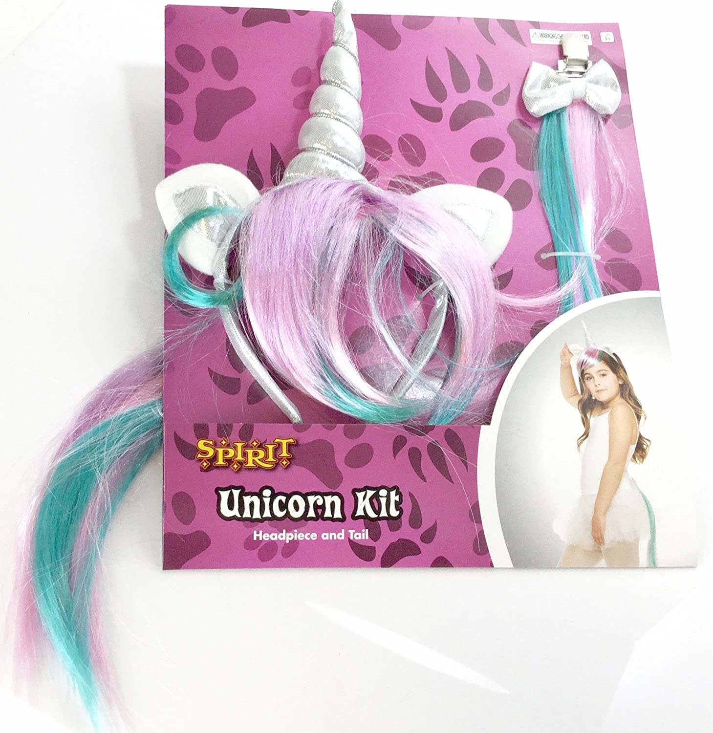 Rainbow Kids Unicorn 2 Pc Kit with Ears and Horn Unicorn Head Piece and Tail