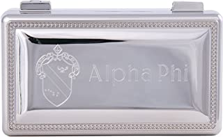 Alpha Phi Engraved Pin Box Sorority Greek Decorative Trinket Case Great for Rings, Badges, Jewelry Etc. A Phi (Rectangle Pin Box)