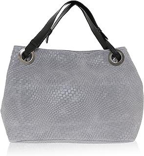 Chicca Borse - Shoulder Bag Borsa a Spalla da Donna Realizzata in Vera Pelle Made in Italy - 38 x 28 x 10 Cm