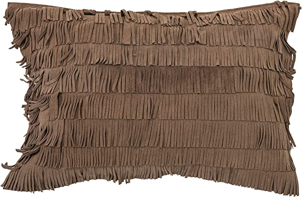 Bloomingville Cotton Pillow With Suede Fringe Brown