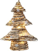 WeRChristmas Pre-Lit Rattan Warm White LED Christmas Tree with Snow and Stars Decoration, 48 cm - Multi-Colour