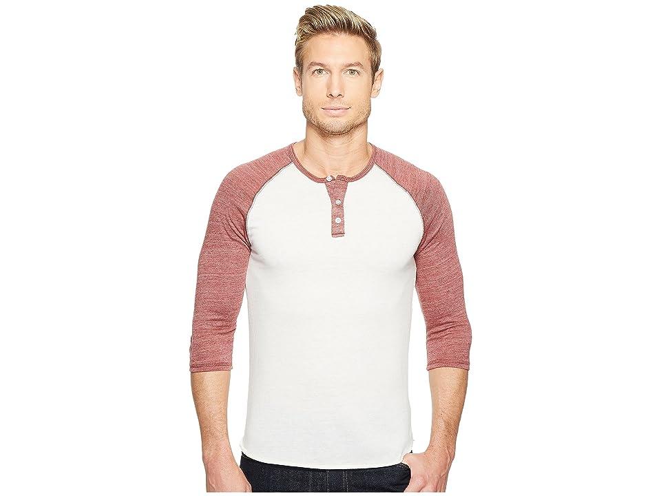 Image of Alternative 3/4 Raglan Henley (Eco Ivory/Eco True Burgundy) Men's Long Sleeve Pullover