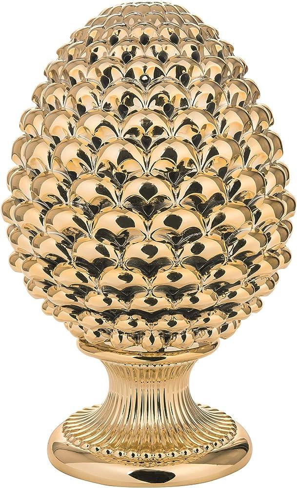 Mazzola luce, soprammobile pigna siciliana, in ceramica color oro lucido MAZME1875ORO