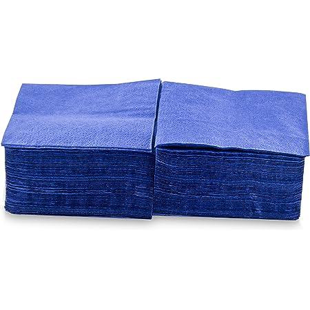 MORIGAMI Coktail, Servilleta 20x20, 2 capas, pliegue 1/4, 100 servilletas, lisa con cenefa Azul (SER22204592)