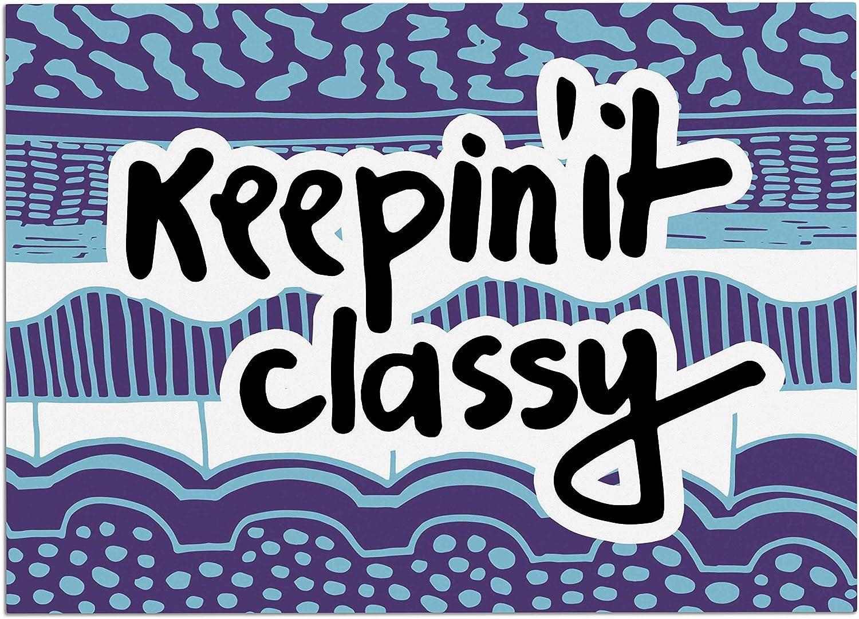 KESS InHouse Vasare NAR Keepin It Classy Purple Purple Typography Dog Place Mat, 24  x 15