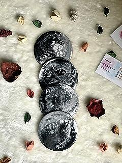 Posavasos con efecto mármol, negro, gris y blanco Juego de 4+ piezas, 10 cm de diámetro