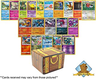 100 Pokemon Trading Cards with 3 Foils and 2 Holo Rares! Includes Golden Groundhog Treasure Chest Storage Box!