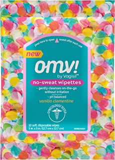 OMV! by Vagisil No-Sweat Feminine Intimate Wipes for Women, Gynecologist Tested, Vanilla Clementine Scent, 10 Wipes in a R...