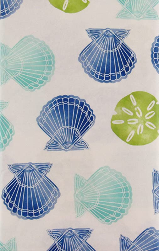 Mainstream Scallops And Jellyfish Vinyl Flannel Back Tablecloth 52 X 90 Oval