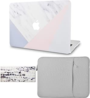 """KECC Laptop Case for MacBook Air 13"""" Retina (2020/2019/2018, Touch ID) w/Keyboard Cover + Sleeve Plastic Hard Shell Case A2179/A1932 3 in 1 Bundle (White Marble with Pink Grey)"""