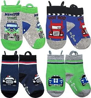Ez Sox Toddler Boys Socks Non Skid Anti Slip Grip Seamless Toe Pull Up Loops