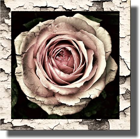 Vintage Floral Roses Bouquet PANORAMIC CANVAS WALL ART Print Picture