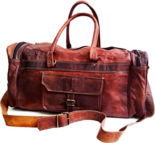 "Jaald 20"" Leather Duffle Bag Travel Carry-on Luggage Overnight Gym Weekender Bag"