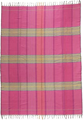 NOVICA Decorative Cotton Tablecloth, Multicolor, Pink Horizon
