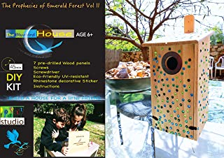 Bird House Kit for Kids - DIY Bluebird House, in a Gold-Stamped Gift Box: Includes Metal Ring, Screwdriver & 345 Pcs Eco-F...