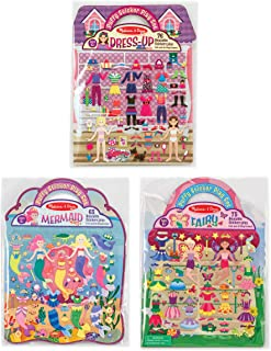 Melissa & Doug Puffy Sticker Play Set 3-Pack, Dress-Up, Mermaid, Fairy Reusable Sticker Activity Pads (Double-Sided Background, Includes Puffy Stickers)