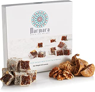 Turkish Delight with Fig and Walnut by Marmara Authentic Sweet Confectionery Gourmet Gift Box Candy Dessert Large,8.8 ounces.