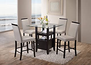 Kings Brand 5-Piece Counter Height Dining Set, Table & 4 Chairs, (Gray)