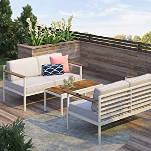 ZINUS Pablo Aluminum and Acacia Wood Outdoor Loveseat with Cushions and Waterproof Cover / Weather Resistant and Rust Proof / Easy Assembly