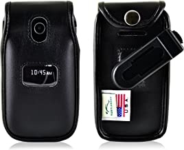 Turtleback Fitted Case Made for ZTE Z320 Cymbal Phone Black Leather Rotating Removable Belt Clip Made in USA