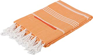 """Cacala Pestemal Turkish Bath Towel with Zipper Pocket - 100% Cotton Towel - 39"""" x 71"""" - Designed for Men and Women - Ideal Towel for Beach, Gym, Sports, Toddlers, Travel, and More!"""