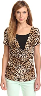 Star Vixen Women's Short Sleeve Print Twofer Top W Solid Inset