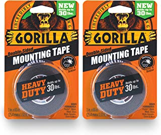 """Gorilla Heavy Duty Double Sided Mounting Tape, 1"""" x 60"""", Black, (Pack of 2)"""