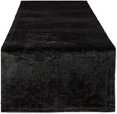 DII Velvet Collection Tabletop, Table Runner, 14x72, Black