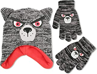ABG Accessories Big Boys Critter Collecion Acrylic Winter Laplander Hat and Matching Glove Set
