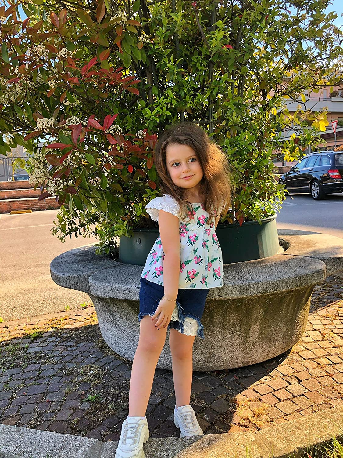Toddler Girl Outfits Baby Girl Summer Clothes Ruffled Floral Printed Shirt Tops + Ripped Denim Shorts Set(3M-3T)