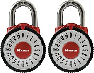 Master Lock 1588T Locker Lock Combination Padlock with Magnification Lens, Assorted Colors, 2 Pack