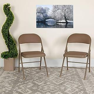 Flash Furniture 4 Pack HERCULES Series Double Braced Beige Vinyl Folding Chair