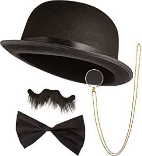 The Detective's Sidekick Halloween Costume Accessory Kit - Classic Book Novel Character - Includes Iconic Black Derby Bowl...